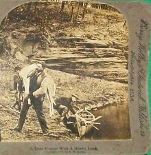 1906 STEREOVIEW REAL PHOTO DEER HUNTER CANOE PHILADELPHIA BERRY KELLEY CHADWICK
