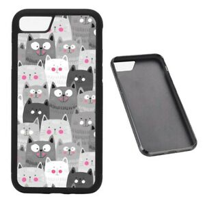 Grey Cat Collage RUBBER phone case fits iPhone