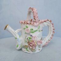 "Vtg Porcelain Bone China Lace 4.5"" Watering Can Pitcher Pink Ribbon Ruffle Trim"