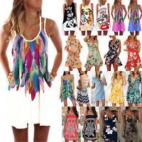 US Womens Mini Dress Sleeveless Cocktail Party Beach Dresses Long Tops Sundress