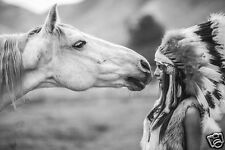 HORSE & INDIAN GIRL in HEAD DRESS * Large A3 Size QUALITY CANVAS ART PRINT