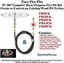 """FR24CK: DIY BASIC PROPANE FIRE PIT KIT & 24"""" DOUBLE RING 316 STAINLESS BURNER"""