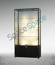 1.0m x 1.98m Glass showcase/cabinet/exhibition cabinet/black/LED/with storage
