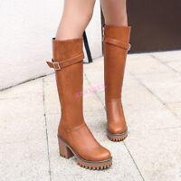 2019 Vogue Womens Knee High Boots Leather Buckle Zipper Platform High Block Heel