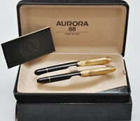 Aurora 88 C set contemporary oversize fountain pen + Roller, gold cap New in box
