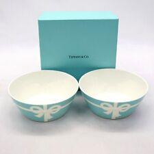 New TIFFANY & CO BONE CHINA Blue Bow Ribbon Bowl 2pcs Set w/ gift box from Japan