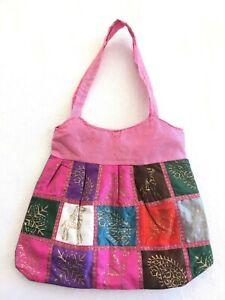 Handmade Om Hippy Cotton Bag Multicoloured Block Print Shopping Gypsy Festival
