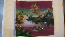 Oriental Asian Fabric Painting Thai Asian Oriental Geese by Trees And River