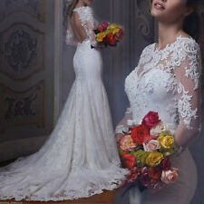 Vestidos de Novia Luxury Wedding Dress Sheath Lace Beads Bridal Gown Long Sleeve