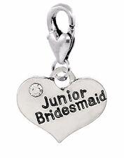 Junior Bridesmaid Heart Wedding Party Lobster Clip Dangle Charm for Bracelets