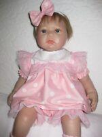 Reborn doll clothes/20-22 inch/pink dress/lace/headband/socks