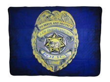 Police Badge Law Enforcement Serve Protect 50x60 Polar Fleece Blanket Throw