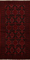 Geometric BLACK RED Balouch Afghan Hand-Knotted Oriental Area Rug 3x6 Carpet