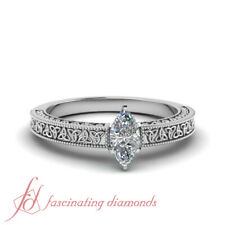 1/2 Carat Marquise Cut Diamond Irish Design Solitaire Milgrain Engagement Ring
