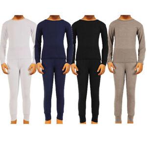 Boys Thermal Underwear Set Long John Skin Base Layer Tops and Bottom Moisture Wicking
