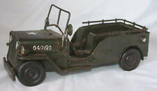 "Tin Army Jeep Metal Military Truck Toy Replica 9"" Plus Length of Spare Tire"