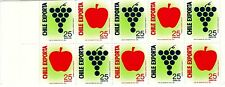 CHILE, CHILE EXPORT FRUITS, STAMP BOOKLET WITH 10 STAMPS, MINT NEVER HINGED