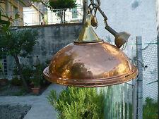 Lampadario sospensione in ottone e rame marina fatto con vera lampara tutta rame