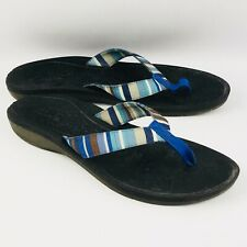 Womens 12M Clarks Tate Muse Blue Flip Flops Multi Striped Strap Thong Sandals
