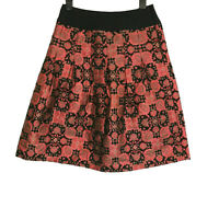 Monsoon Red Floral Embossed Party Pleated Aline Skirt Size 12