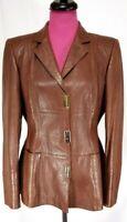 Escada Embossed Womens Jacket Carmel Brown Nappa Leather Sz 38 USA Size 8