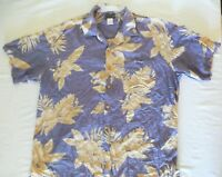 Men's T.Austin Large Hawaiian Shirt Blue Large * Flowers, Leaves