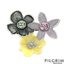PILGRIM Skanderborg Flower Brooch with Crystals and pearls Yellow Pink, Black