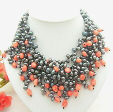 "17"" 4Strands Black Pearl Pink  Coral Necklace"