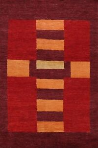 Geometric Gabbeh Oriental Area Rug Hand-knotted Wool Contemporary Carpet 6x8 New