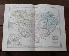 1850 Carte Géographique Atlas époque couleur Département 43 Haute Loire Puy