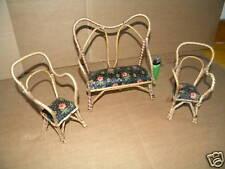 1930 orig.kleine PUPPENMÖBEL-SITZGARNITUR Bast geflochten Bank+2 Stühle Stuhl