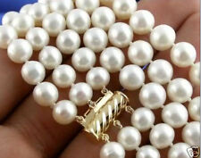 """3 Rows 8-9mm Natural White Akoya Pearl Necklace 16-18"""""""