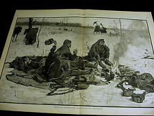 Gilbert Gaul SOLDIERS THANKSGIVING in the WINTER SNOW TURKEY 1887 Large Print