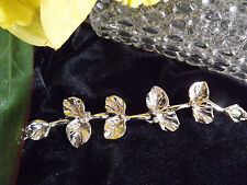 18 Kt White Gold Plated Leaf Bracelet  with Adjustable Chain