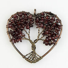 Natural Garnet Chip Beads Tree of Life Reiki Chakra Copper Heart Pendant