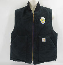 Carhartt Duck Vest L Black Arctic Quilt Lined Insulated Mens Water Repellent V01