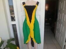 Sexy Handmade Jamaica Flag Print Dress`Sleeveless 100% Cotton M 3XL UK12 18