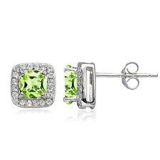 Sterling Silver 2ct Peridot & White Topaz Cushion-Cut Stud Earrings