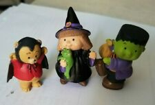 Hallmark Merry Miniatures figures - Bear, Witch, Frankenstein