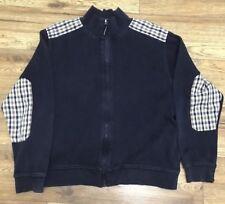 aquascutum jumper check Navy Sz Xl Cardigan Zip Top Sweater