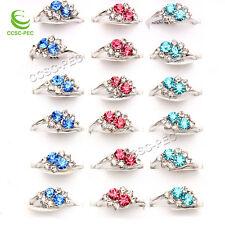 10pcs Wholesale Lots Jewelry Women Fashion Mulitcolor Rhinestones Silver Rings