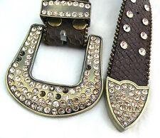 Western Rhinestone Crystal Bling Stud Brown Genuine Embossed Leather Belt S/M
