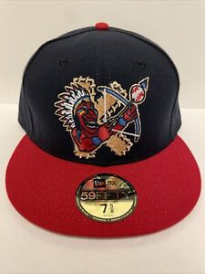 New Era Kinston Indians Navy/Red MiLB Hat Club Exclusive 5950 Hat Size 7 5/8