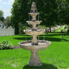 NEW 4 TIER GRAND COURTYARD OUTDOOR WATER FOUNTAIN EARTH SUNNYDAZE RECIRCULATING