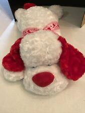 "PlushLand White  Puppy Dog Stuffed Plush Red Heart 23"" Love Valentines"