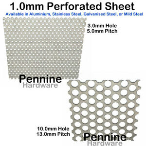PERFORATED Sheet Metal 4 Finishes 3 or 10 mm Ø Hole UK Trade Supplier Guillotine