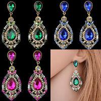 Vintage Women Rhinestone Crystal Ear Stud Eardrop Dangle Earring Fashion Jewelry