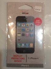 VERIZON IPHONE 4 DISPLAY PROTECTORS 3-PACK; BRAND NEW AND NEVER USED