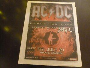 AC/DC 2009 Concert Poster Ad Advert Black Ice Tour Anvil ACDC Giants Stadium