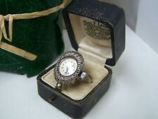 VINTAGE HUGUENIN SOLID STERLING SILVER MARCASITE COCKTAIL WATCH RING SIZE T 9.5